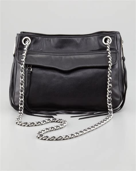 rebecca minkoff swing bag black rebecca minkoff leather swing bag in black blk lyst