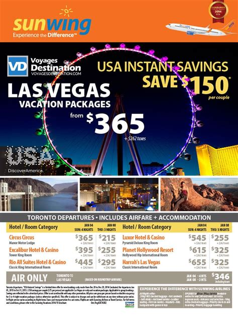las vegas vacation packages includes airfare accommodation toronto departures