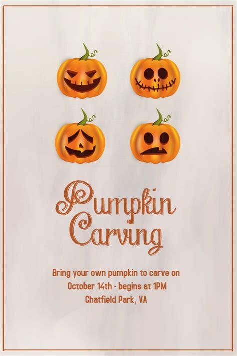 creative halloween pumpkin carving event flyerposter