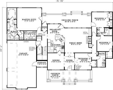 4 bedroom bungalow floor plan bungalow style house plans 2373 square foot home 1