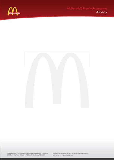 Mcdonald S Official Letterhead project pointers letterheads the paper