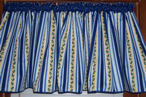 Yellow And Blue Window Valances Sale Wide Blue Yellow White Striped Kitchen Valance Free