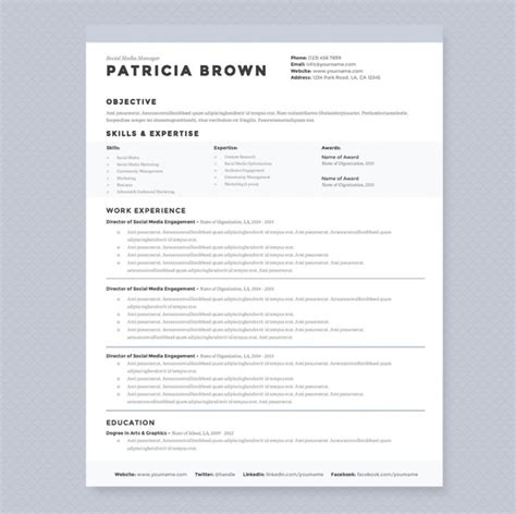 media resume template social media manager resume template graphic cloud
