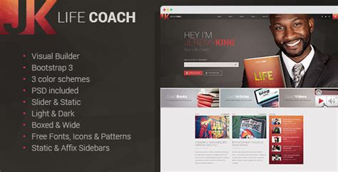 website templates for life coaches life coach personal page with visual builder by