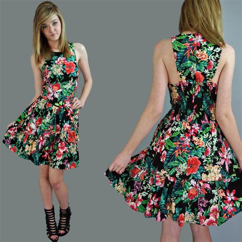 The 80s Is Back In Dress Form by 80s Dress Racer Back Mini Sun Dress Ruffle Dress Tropical