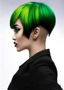 colorful haircut green and yellow hair color