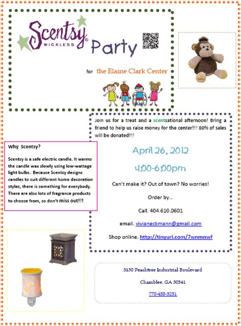 Petunia Honey Scentsy Party Benefiting The Elaine Clark Center Scentsy Flyer Templates