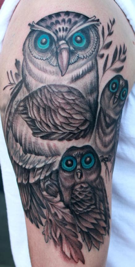 tattoo family owl tattoos by katelyn crane tattoos body part arm owl