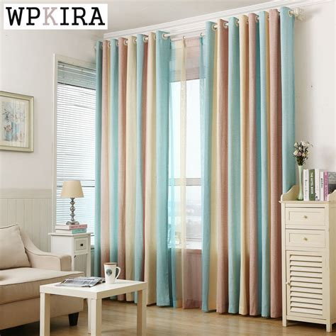 striped living room curtains european blue stripe window voile sheer tulle window curtains decoration home living room
