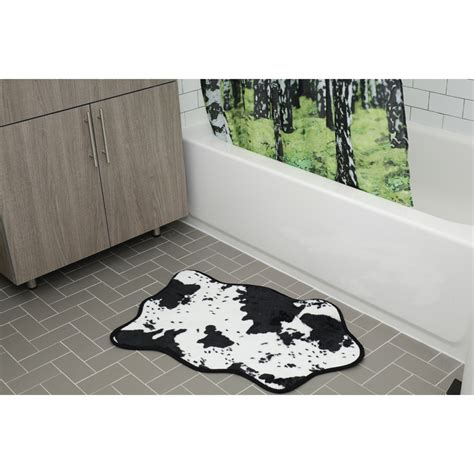 cowhide bath rug black white traditional gifts thehut com