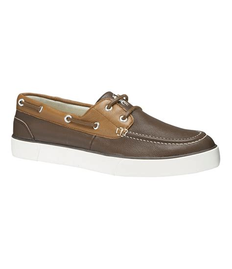 boat shoes polo polo ralph lauren sander leather boat shoes in brown for