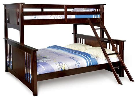 Sturdy Wood Bunk Beds Xl Combo Size Bunk Bed Walnut Sturdy Wood Mission Transitional