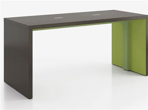 standing height work table colorful wood laminate with green accents standing height