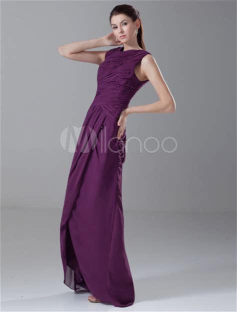 color uva vestido de damas de honor de gasa de color de uva con