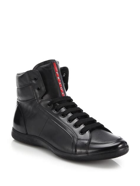 prada leather high top sneakers in black for lyst
