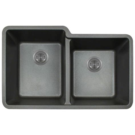 Composite Undermount Kitchen Sinks Polaris Sinks Undermount Composite 33 In Basin Kitchen Sink In Black P108 Black The
