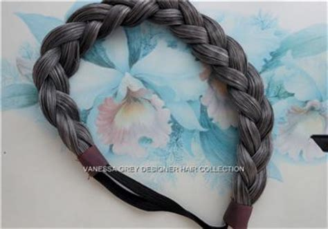 large braided hair piecesin salt n pepper braid plaited chunky dark grey salt and pepper mix