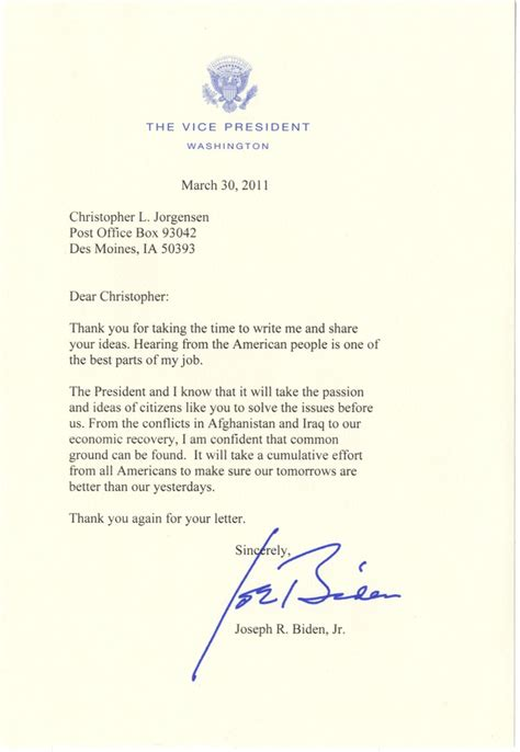 Thank You Letter For With Vice President Letters Dear Vice President Biden