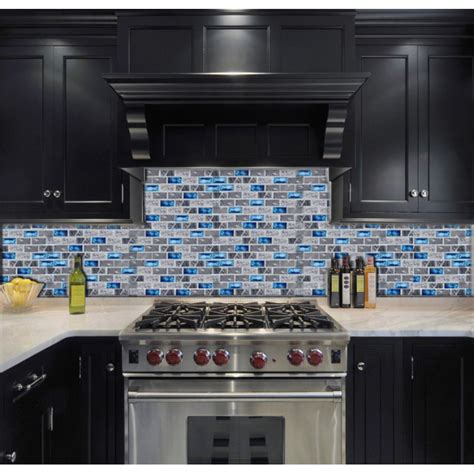 Blue Glass Tile Kitchen Backsplash Blue Glass Tile Kitchen Backsplash Subway Marble Bathroom Wall Shower Bathtub Fireplace New