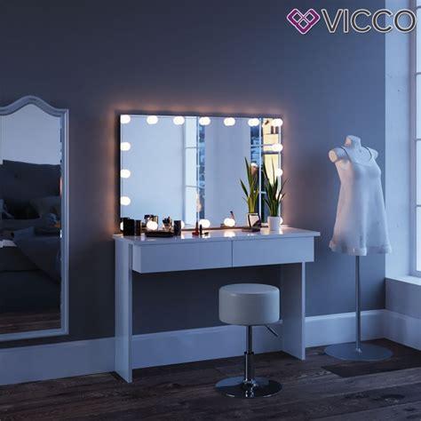 schminktisch mit spiegel azur weiss mit led beleuchtung