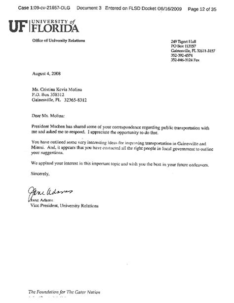 Employee Letter Of Commendation Sle Letters Of Commendation From President Machen Of The Of Fl