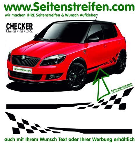 dekor aufkleber f rs auto skoda fabia checker seitenstreifen aufkleber dekor set