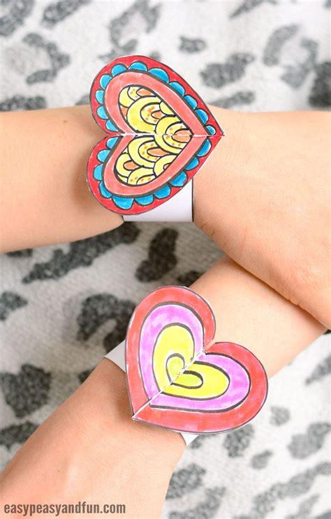 heart paper bracelets  kids printable template
