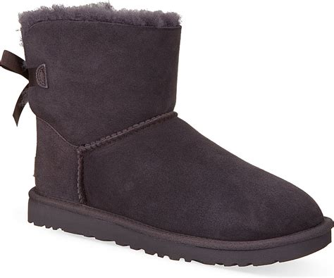 gray ugg boots ugg mini bailey bow sheepskin boots for in gray