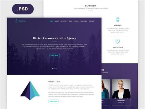 Tajam Psd Website Template For Agencies Freebiesbug Self Build Website Templates