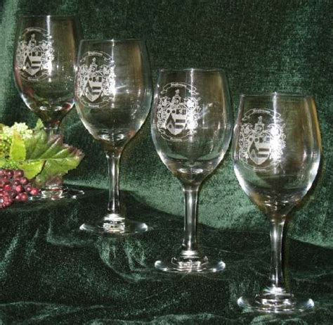 Etched Wine Glasses With Decorative Family Coat of Arms