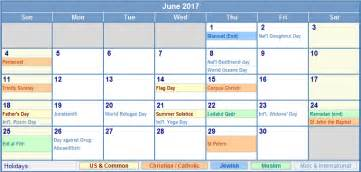 june 2017 calendar with holidays calendar printable free