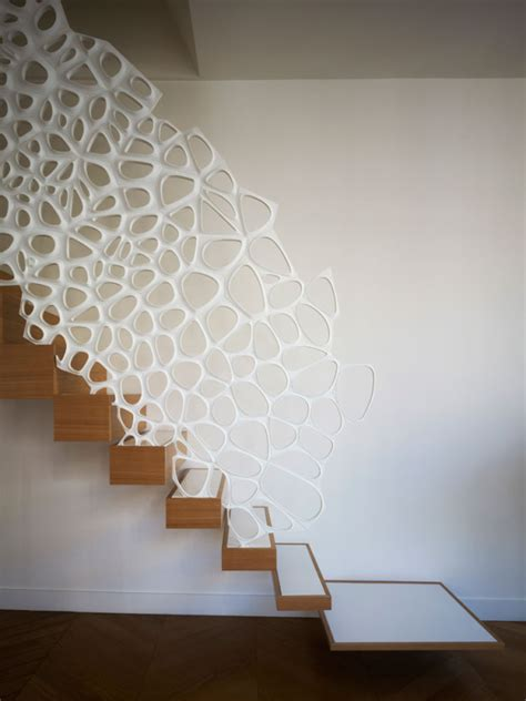 corian handrail sculptural staircase handrail doubles as decorative room