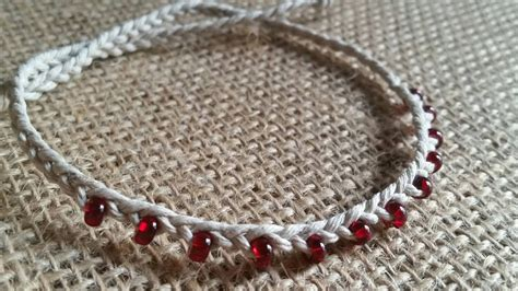 fringe beaded braided hemp bracelet tie on