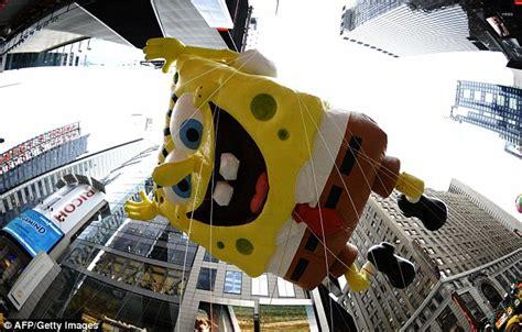 Spongebob squarepants joins the festivities on broadway through times