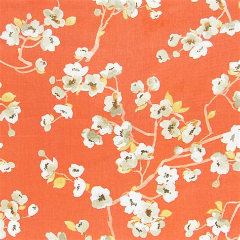 contemporary home decor fabric kumquat orange contemporary floral asian linen print