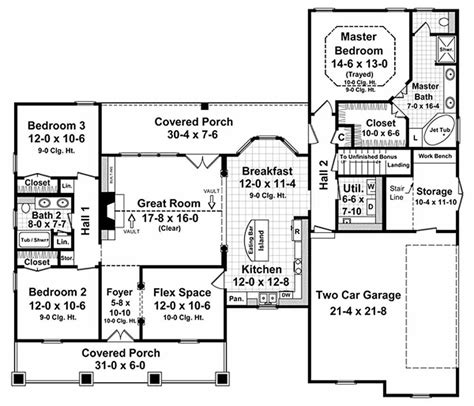 Country Style House Plan 3 Beds 2 Baths 1800 Sq Ft Plan 21 190