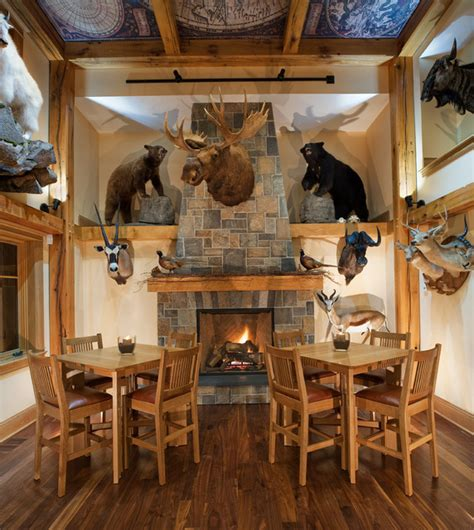 Hunting Man Cave Decor Trophy Room Rustic Dining Room Other Metro By