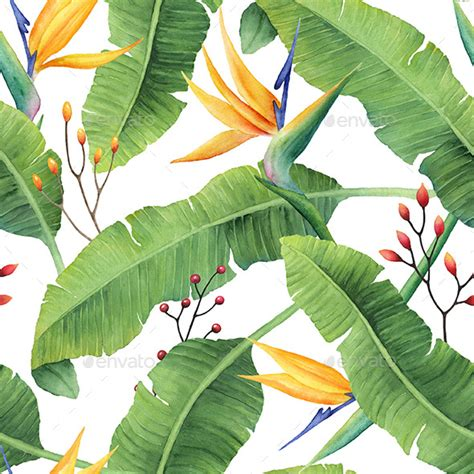 watercolor leaf pattern watercolor banana leaves pattern by watercolorvalley