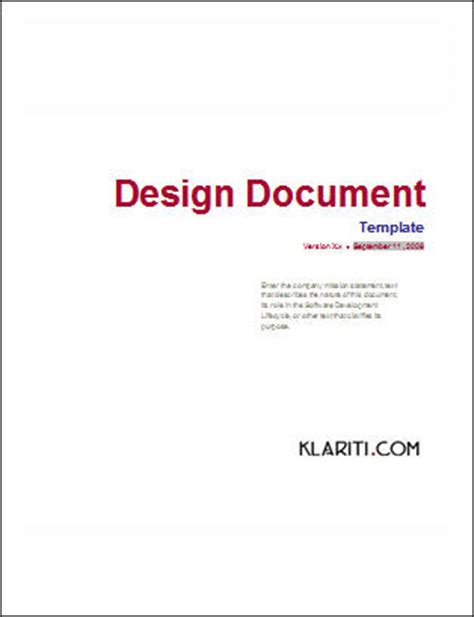 technical design document template 54 x software development templates forms and checklists