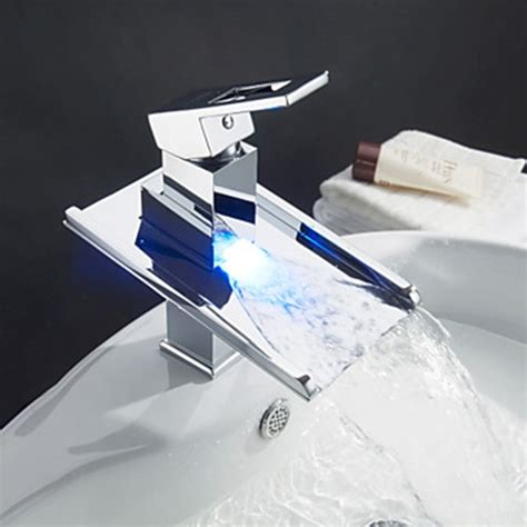 waterfall bathroom sink faucets color changing led waterfall bathroom sink faucet faucetsuperdeal com