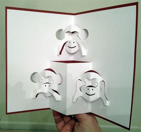 Origami Pop Up Cards - three monkeys pop up card template from pattern sheets of