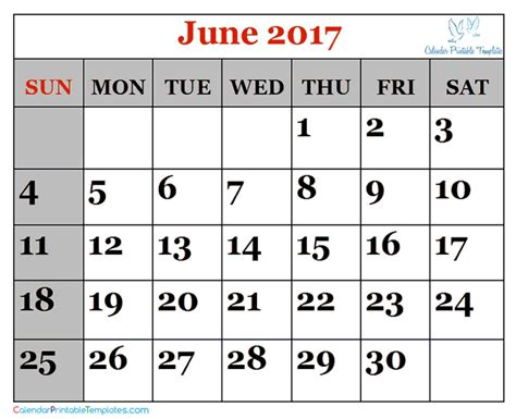 Calendar June June 2017 Calendar Printable Template Pdf Uk Usa Canada