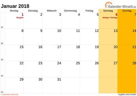 Januar 2018 Kalender Januar 2018 Kalender Mit Feiertagen