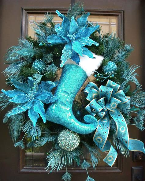 turquoise christmas wreath peacock wreath peacock christmas