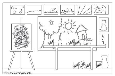 Art Room Coloring Page | house with rooms coloring pages sketch coloring page