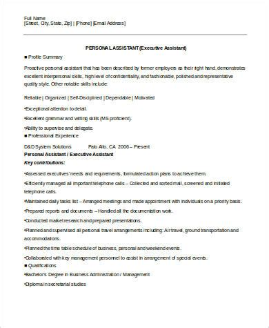 Personal Assistant Resume Templates by Sle Personal Assistant Resume 8 Exles In Word Pdf