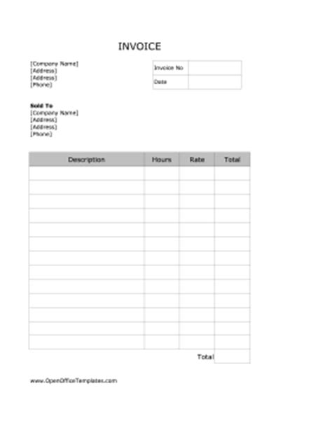 Basic Service Invoice Openoffice Template Office Billing Template