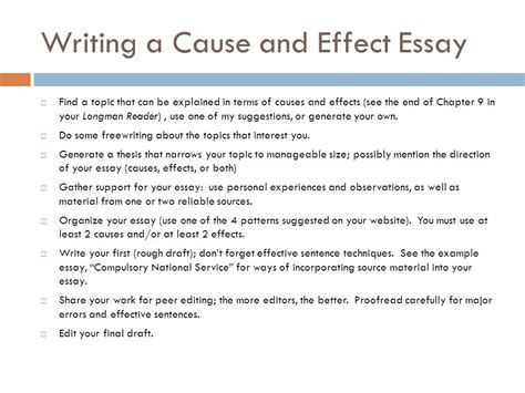 How To Write Cause And Effect Essay by Exles Of Cause And Effect Essays Writing Essay Exles Causes And Effects How To Write A