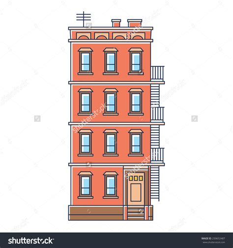 brick apartment building illustration in contemporary