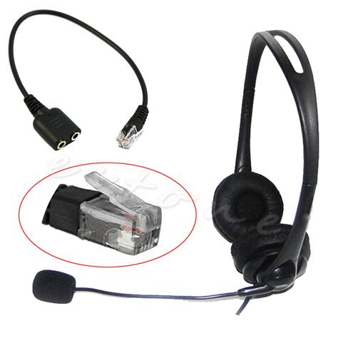 Headset Konverter headset cable 2 x 3 5mm to rj9 adapter convertor pc telephone using new ebay